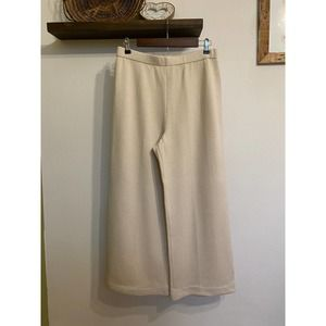 St. John Collection cream knit wide leg pants | 12